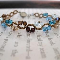 Stainless Steel ZigZac Colorful Blue and Brown Crystal Bracelet (USA)