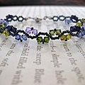 Stainless Steel ZigZac Purple and Green Mix Crystal Bracelet (USA)