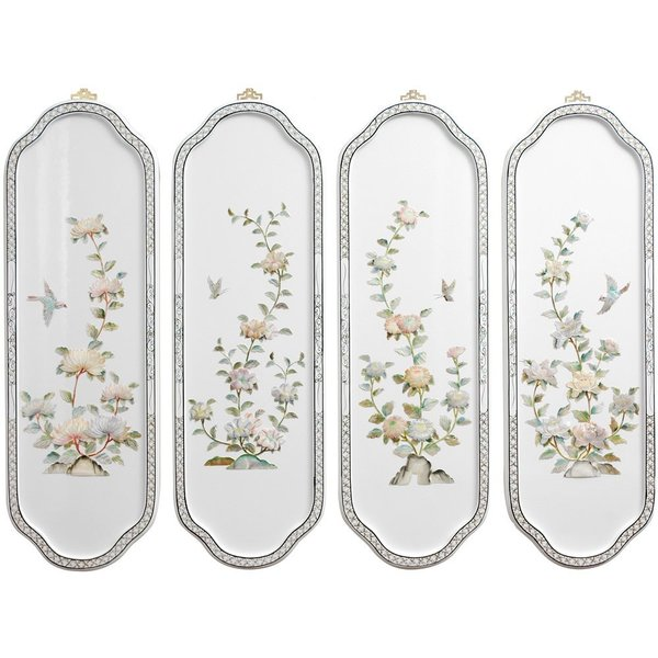 Birds and Flowers Curved Wall Plaques (China)