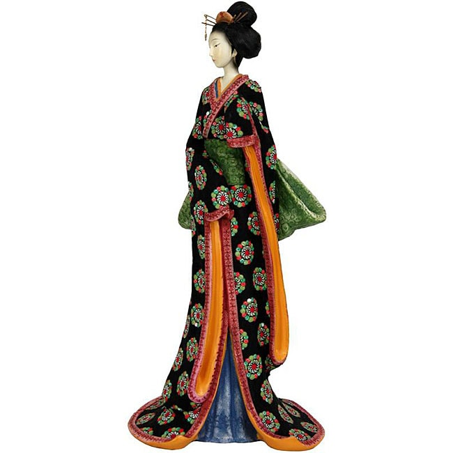 Resin Pale Green Sash 18-inch Geisha Figurine (China)