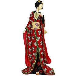 Resin Red Kimono and Lavender Flowers 18-inch Geisha Figurine (China)