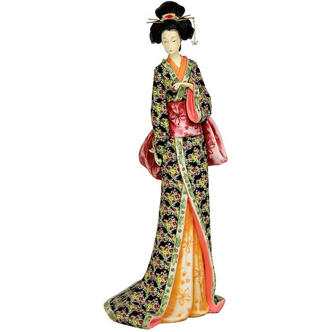 Resin 18-inch Fuchsia Floral Sash Geisha Figurine (China)