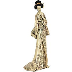 Resin 18-inch Flower Vine Kimono Geisha Figurine (China)