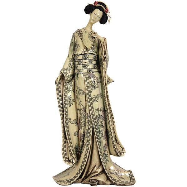 Resin 18-inch Bamboo Tree Kimono Geisha Figurine (China)
