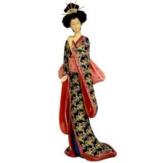 Resin 14-inch Pastel Sash Geisha Figurine (China)