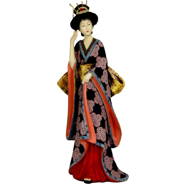 Resin 14-inch Ivory Flower Sash Geisha Figurine (China)