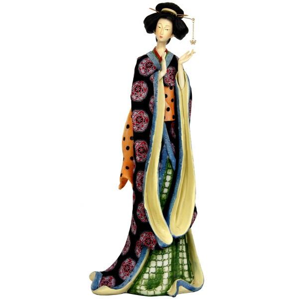 Resin 18-inch Pale Gold Sash Geisha Figurine (China)