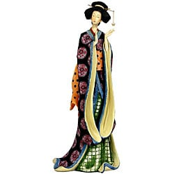 Resin 18-inch Pale Gold Sash Geisha Figurine (China)