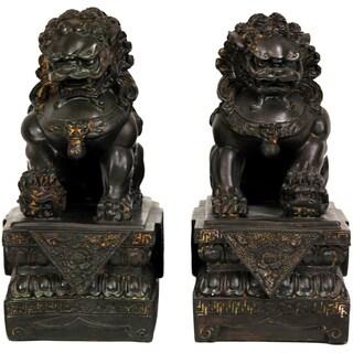 Set of 2 Resin 9-inch Foo Dog Statues (China)