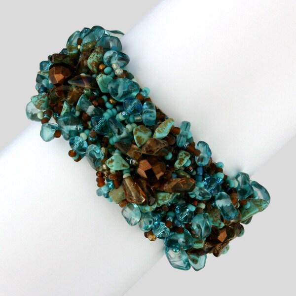 Zafrina Turquoise Cafe Beaded Bracelet (Guatemala)