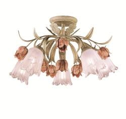 Southport 5-light Sage/ Rose Semi-flush Mount
