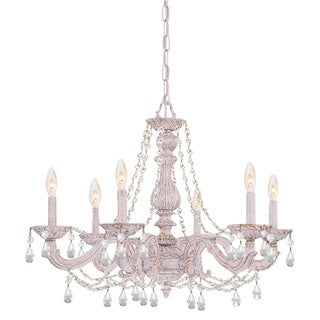 Sutton 6-light Antique White/ Crystal Chandelier