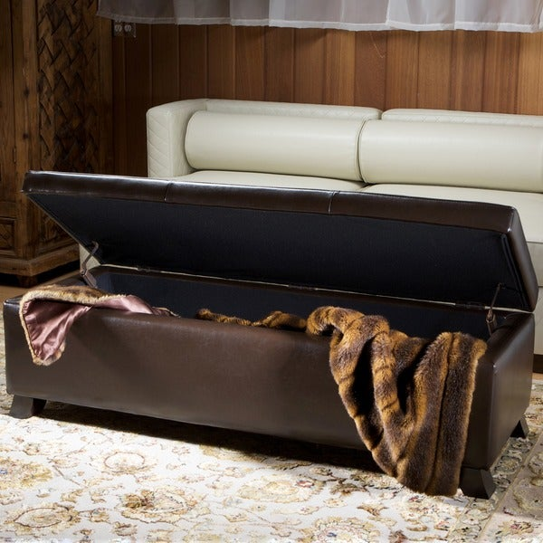Christopher Knight Home Brown Bonded Leather Storage Ottoman Bench