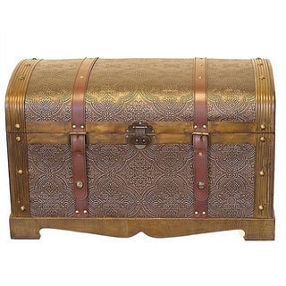 Antiqued Victorian Treasure Chest Styled Wood Trunk