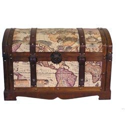 Old World Victorian Treasure Chest Styled Wood Trunk