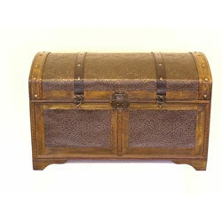 Nostalgic Treasure Chest Styled Wood Trunk