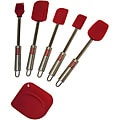 Le Chef Deluxe Stainless Steel Red Silicone 6-piece Spatula Set