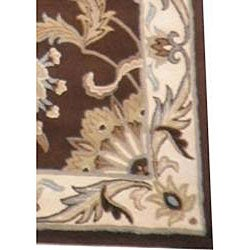 Indo Tibetan Hand-tufted Brown / Ivory Wool Rug (5 x 8)
