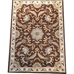 Indo Tibetan Hand-tufted Brown / Ivory Wool Rug (5 x 8)