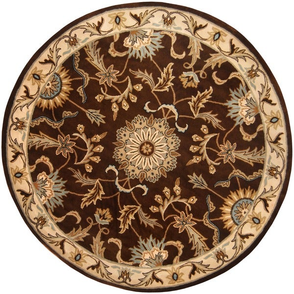 Indo Tibetan Hand-tufted Brown / Ivory Wool Rug (8 x 8)