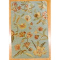 Indo Tibetan Hand-tufted Teal / Yellow Wool Rug (5 x 8)