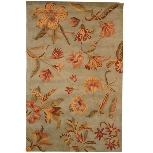 Indo Tibetan Hand-tufted Teal / Yellow Wool Rug (5 x 8)