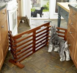 Fold-to-fit 72-inch Hardwood Dog Gate with Walnut-stained Finish