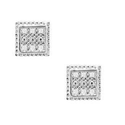 Sterling Silver 1/10ct TDW Diamond Square Earrings (H-I, I3)