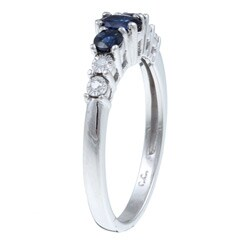10k White Gold Blue Sapphire and Diamond Accent Ring