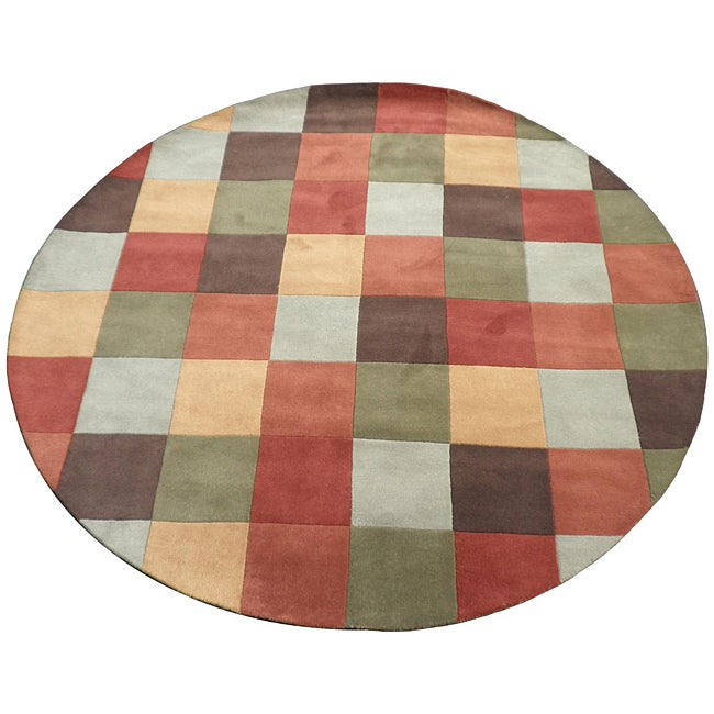 Indo Hand-Tufted Multi-color Wool Rug (8' Round)