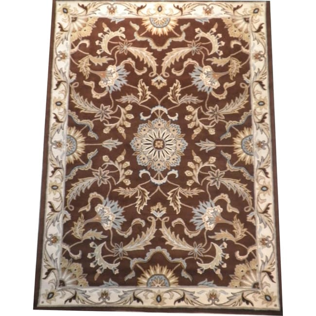 Indo Hand-tufted Tibetan Brown/ Ivory Wool Rug (8' X 11