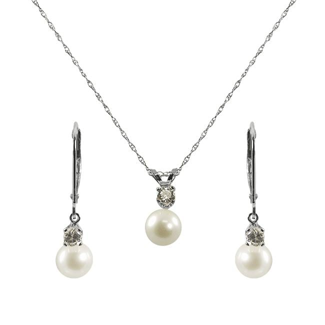 Pearls For You Silver Pearl and White Topaz Jewelry Set (6-6.5 mm)