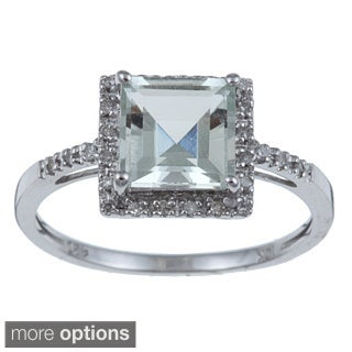 Viducci 10k Gold Green Square-cut Amethyst and 1/10ct TDW Diamond Ring (G-H, I1-I2)