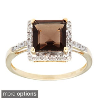 Viducci 10k Gold Smokey Quartz and 1/10ct TDW Diamond Ring (G-H, I1-I2)