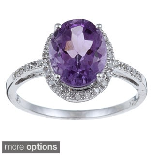 Viducci 10k Gold Amethyst and 1/10ct TDW Diamond Ring (G-H, I1-I2)