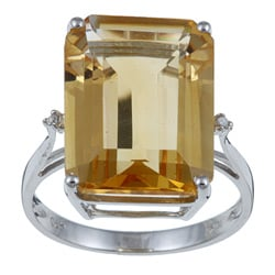 Viducci 10k White Gold Octagon-cut Citrine and Diamond Ring