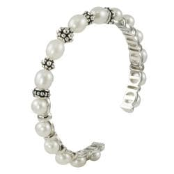 Pearls For You Sterling Silver White FW Pearl Cuff Bracelet (6-7.5 mm)
