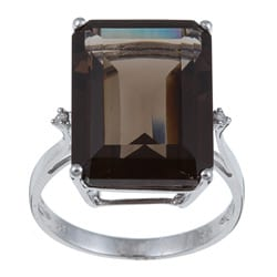 Viducci 10k White Gold Smokey Quartz and Diamond Accent Ring