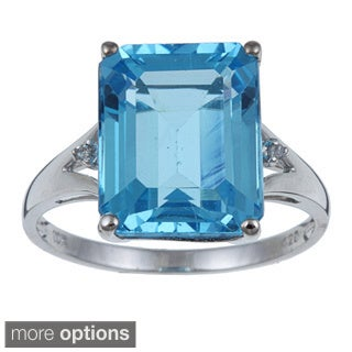 Viducci 10k Gold Blue Topaz and 1/10ct TDW Diamond Ring (G-H,I1-I2)