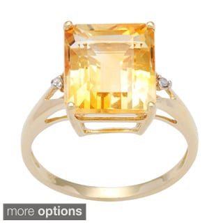 Viducci 10k Gold Citrine and 1/10ct TDW Diamond Ring (G-H, I1-I2)
