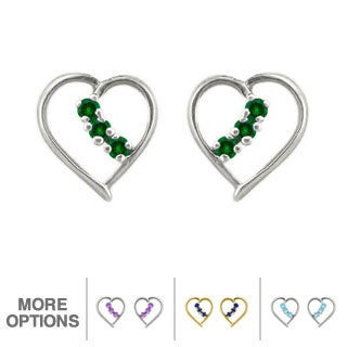 10k Gold Birthstone Heart Earrings