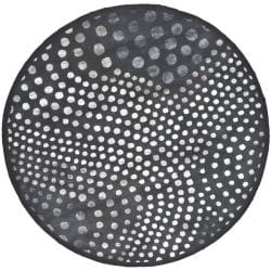 Handmade Soho Deco Wave Dark Grey New Zealand Wool Rug (6' Round)