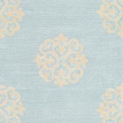 Handmade Soho Medallion Light Blue N. Z. Wool Runner (2'6 x 14')
