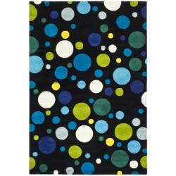 Handmade Soho Bubblegum Black/ Multi N. Z. Wool Rug (8'3 x 11')