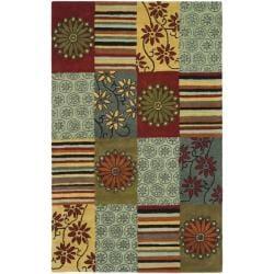 Handmade Soho Patchwork Multi New Zealand Wool Rug (3'6 x 5'6')