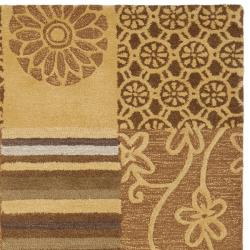 Handmade Soho Patches Beige/ Multi N. Z. Wool Rug (7'6 x 9'6)