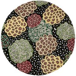 Safavieh Handmade Soho Expand Black/ Multi New Zealand Wool Rug (6' Round)