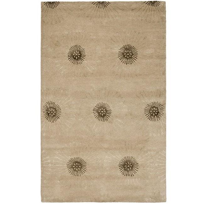 Safavieh Handmade Soho Zen Beige/ Brown New Zealand Wool Rug (7'6 x 9'6)