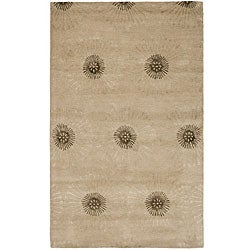 Handmade Soho Zen Beige/ Brown New Zealand Wool Rug (7'6 x 9'6)