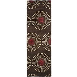Handmade Soho Zen Coffee/ Brown N. Z. Wool Runner (2'6 x 8')
